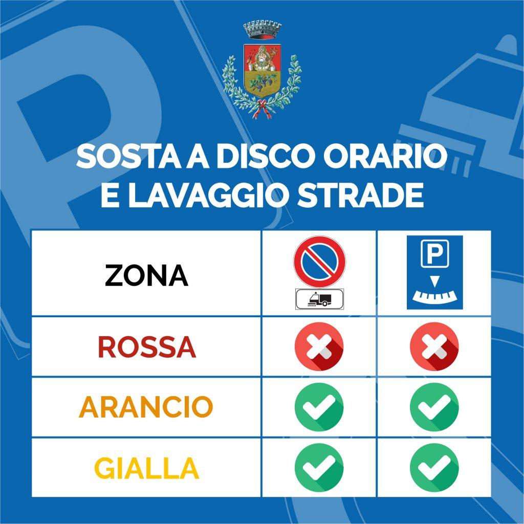 Restrizioni parcheggi, lavaggio strade e disco orario in zona Rossa Arancione e Gialla nel Comune di Vignate