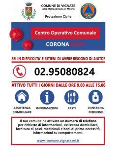 Numero telefono COC Centro Operativo Comunale Vignate COVID19 +390295080824